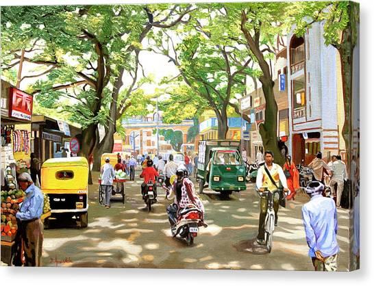 India Street Scene Canvas Print by Dominique Amendola