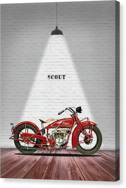 Scouting Canvas Print - Indian 101 Scout 1929 by Mark Rogan