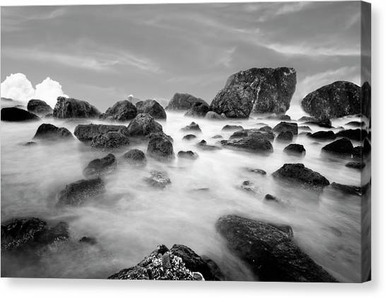 Indian Beach, Ecola State Park, Oregon, In Black And White Canvas Print