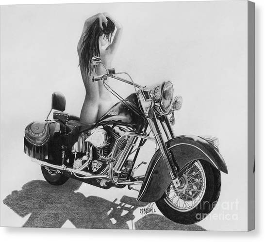 Pencil Drawing Motorcycle Canvas Print - Indian Beauty by Stephen McCall