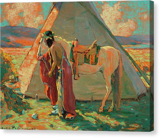 Axes Canvas Print - Indian Camp by Eanger Irving Couse