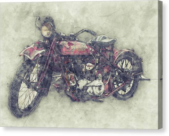 Indian Chief 1 - 1922 - Vintage Motorcycle Poster - Automotive Art Canvas Print