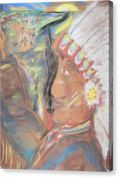 Indian Chief On French Velvet Canvas Print by Bob Smith