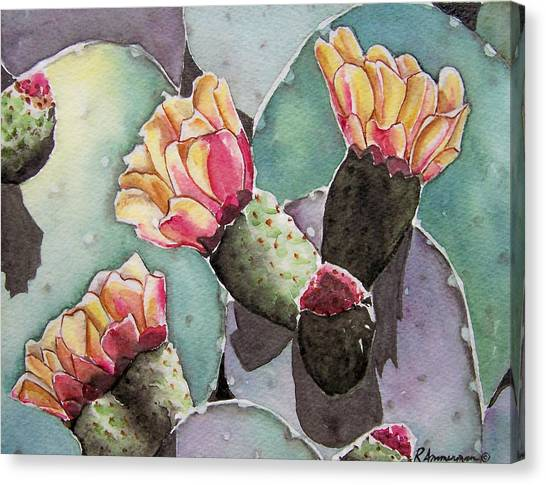 Indian Fig Cactus Canvas Print by Regina Ammerman
