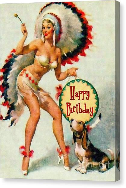 Indian Girl - Birthday Celebration Canvas Print