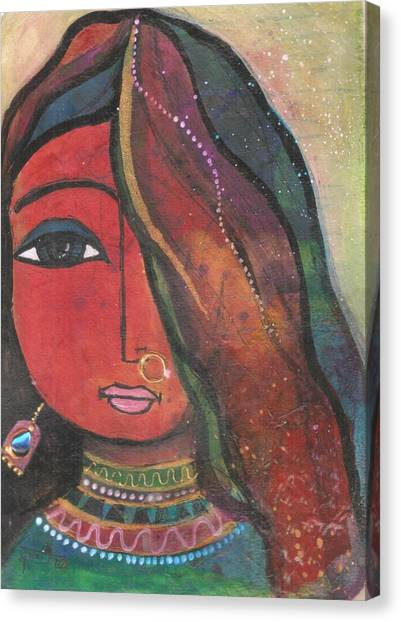 Indian Girl With Nose Ring Canvas Print