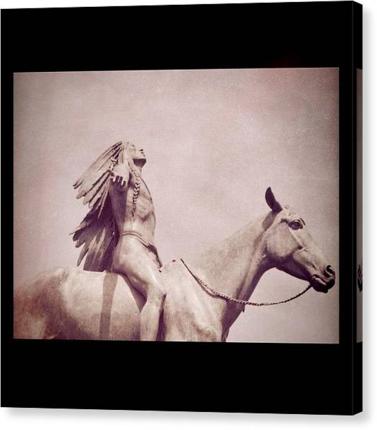 Indian Canvas Print - #indian #horse #statue #mfa #boston by Vicki Leggett