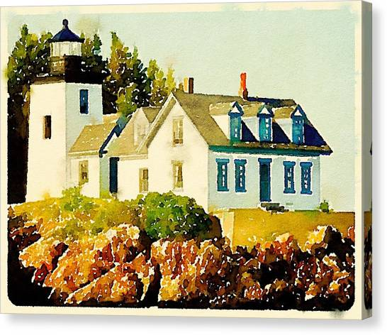 Canvas Print - Indian Island Lighthouse In Watercolor by Modern Art