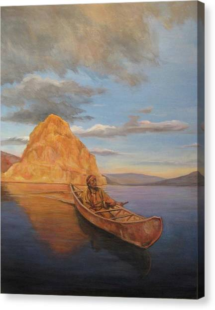 Indian On Lake Pyramid Canvas Print