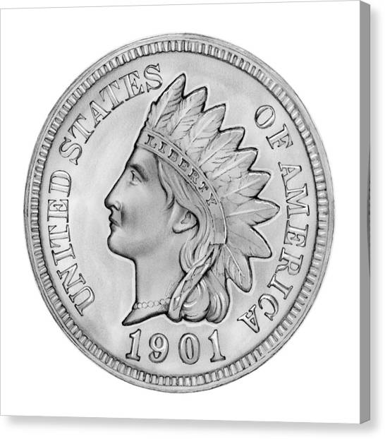 Coins Canvas Print - Indian Penny by Greg Joens