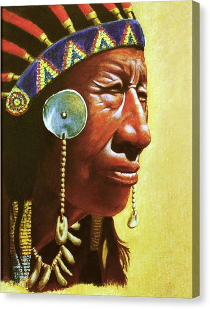Indian Portrait Canvas Print by Martin Howard