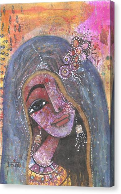 Indian Rajasthani Woman With Colorful Background  Canvas Print