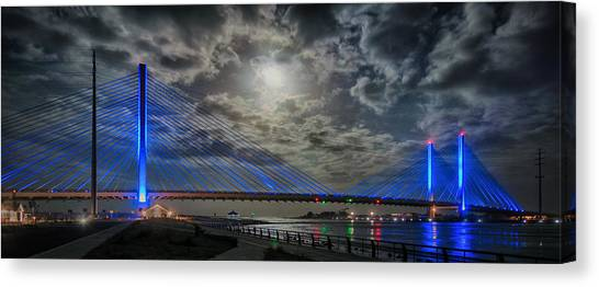 Indian River Bridge Moonlight Panorama Canvas Print