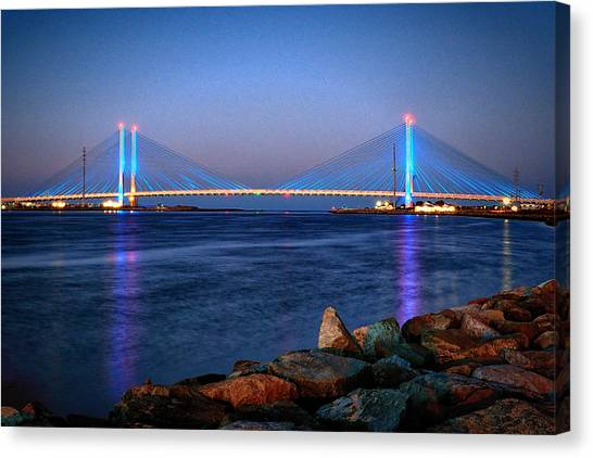 Delaware Canvas Print - Indian River Inlet Bridge Twilight by Bill Swartwout Fine Art Photography