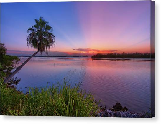 Indian River State Park Bursting Sunset Canvas Print