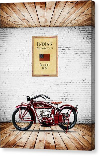 Scouting Canvas Print - Indian Scout 1924 by Mark Rogan
