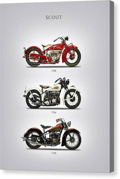 Scouting Canvas Print - Indian Scout Trio by Mark Rogan