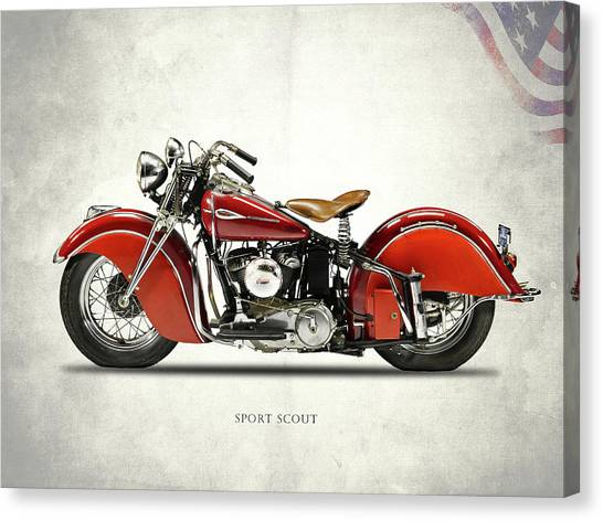 Scouting Canvas Print - Indian Sport Scout 1940 by Mark Rogan