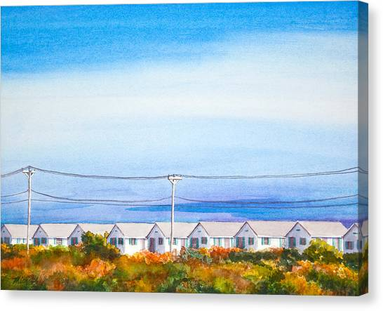 Indian Summer Days Cottages North Truro Massachusetts Watercolor Painting Canvas Print