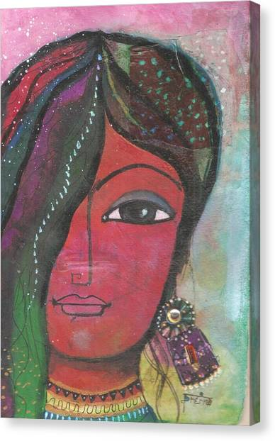 Indian Woman Rajasthani Colorful Canvas Print