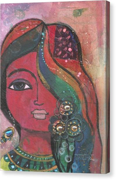 Indian Woman With Flowers  Canvas Print
