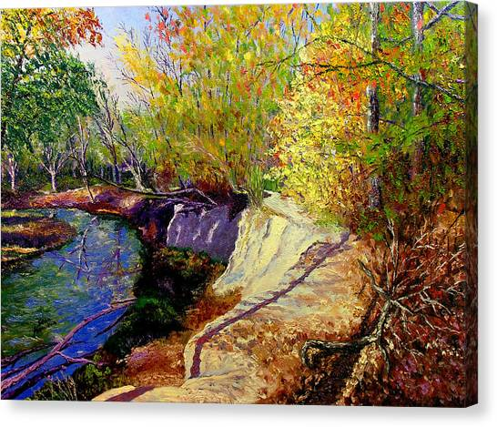 Indiana Creek Bank Canvas Print by Stan Hamilton