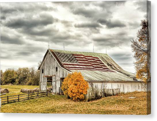 Missles Canvas Print - Indiana Flag Barn With Missle by Donna Caplinger