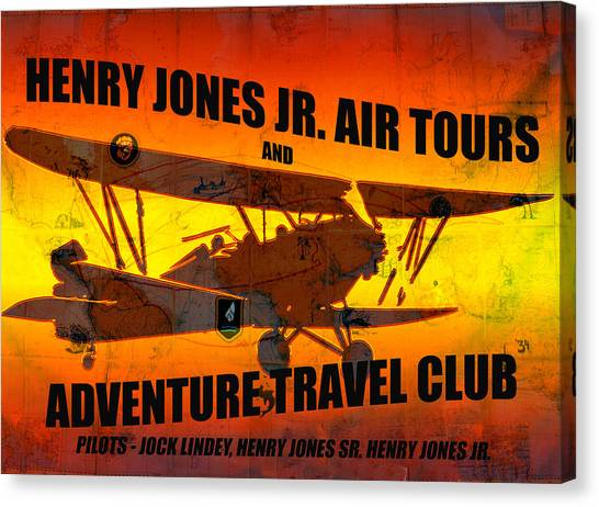 Raiders Of The Lost Ark Canvas Print - Indiana Jones Air Tours T Shirt Design A by David Lee Thompson