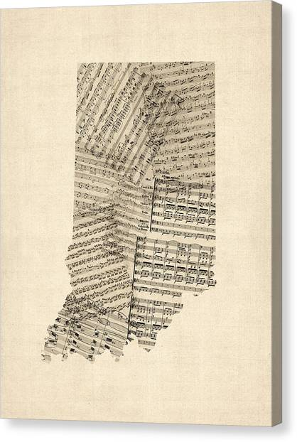 Indiana Canvas Print - Indiana Map, Old Sheet Music Map by Michael Tompsett