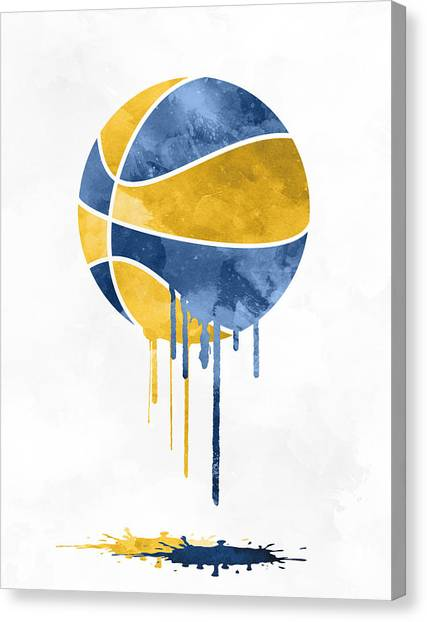 Indiana Pacers Canvas Print - Indiana Pacers Dripping Water Colors Pixel Art by Joe Hamilton