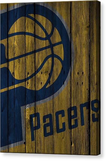 Indiana Pacers Canvas Print - Indiana Pacers Wood Fence by Joe Hamilton