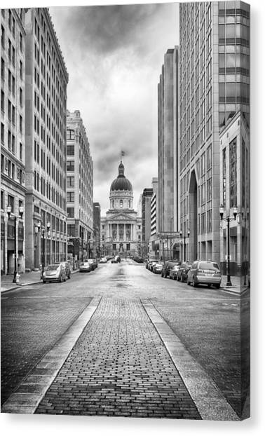 Canvas Print featuring the photograph Indiana State Capitol Building by Howard Salmon