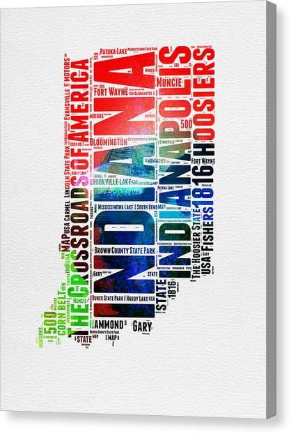 Indianapolis Canvas Print - Indiana Watercolor Word Cloud Map  by Naxart Studio