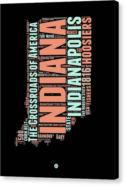 Indianapolis Canvas Print - Indiana Word Cloud Map 1 by Naxart Studio
