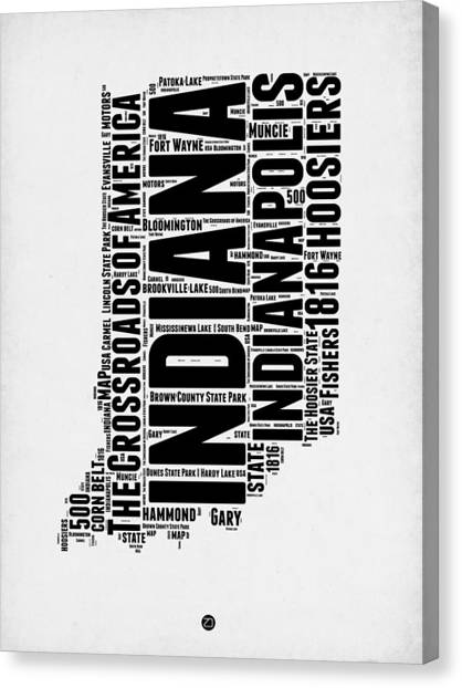 Indianapolis Canvas Print - Indiana Word Cloud Map 2 by Naxart Studio