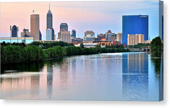 Indiana Pacers Canvas Print - Indianapolis At Dusk by Frozen in Time Fine Art Photography