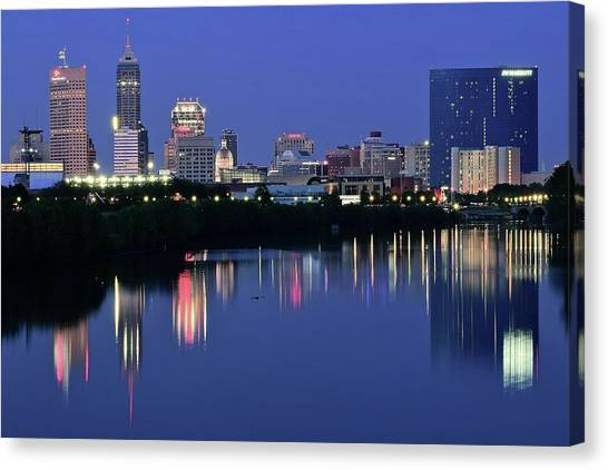 Indiana Pacers Canvas Print - Indianapolis Blue Hour by Frozen in Time Fine Art Photography