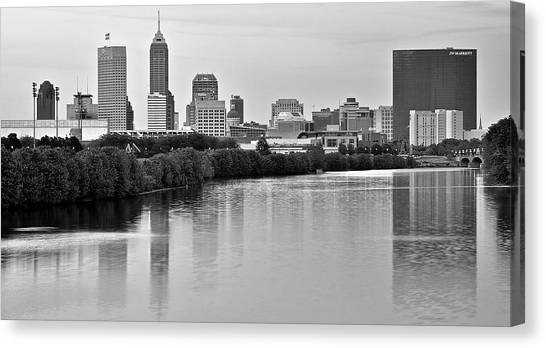 Indiana Pacers Canvas Print - Indianapolis Charcoal Panoramic by Frozen in Time Fine Art Photography