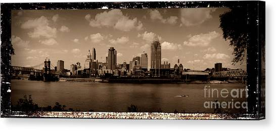 Tony Stewart Canvas Print - Indianapolis City Skyline - Antiqued Series by Scott D Van Osdol