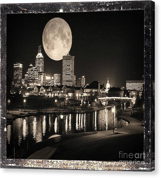 Tony Stewart Canvas Print - Indianapolis City Skyline At Night - Antiqued Series by Scott D Van Osdol