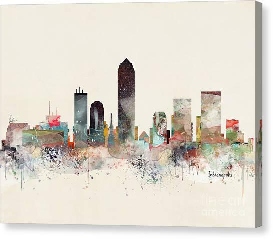 Indianapolis Canvas Print - Indianapolis City Skyline by Bri Buckley