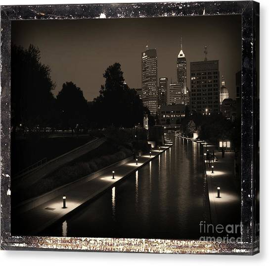 Tony Stewart Canvas Print - Indianapolis City Skyline Canal At Night - Antiqued Series by Scott D Van Osdol