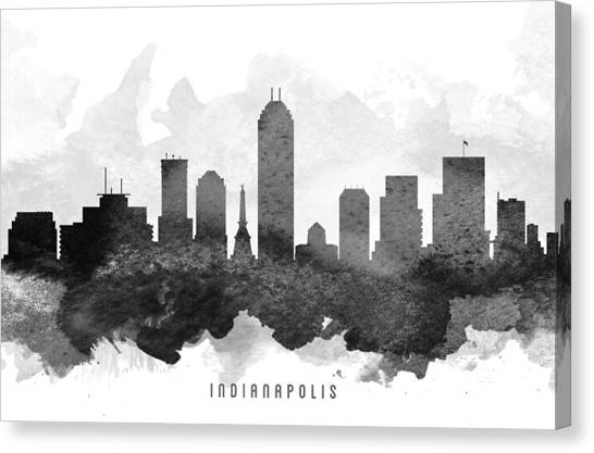 Indianapolis Canvas Print - Indianapolis Cityscape 11 by Aged Pixel