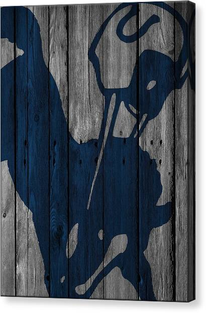 Indianapolis Colts Canvas Print - Indianapolis Colts Wood Fence by Joe Hamilton