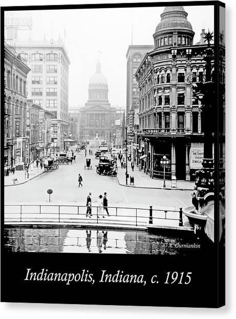 Indianapolis, Indiana, Downtown Area, C. 1915, Vintage Photograp Canvas Print