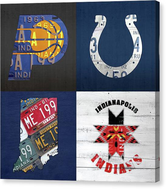 Indiana Pacers Canvas Print - Indianapolis Indiana Sports Team License Plate Art Collage Map Pacers Colts Indians by Design Turnpike