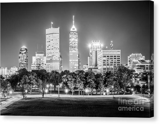 Oversized Canvas Print - Indianapolis Skyline Black And White Picture by Paul Velgos