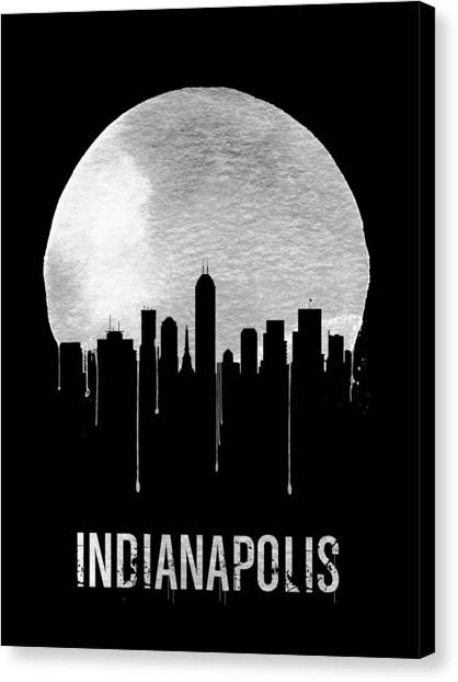Indianapolis Canvas Print - Indianapolis Skyline Black by Naxart Studio