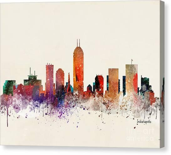 Indianapolis Canvas Print - Indianapolis Skyline by Bri Buckley