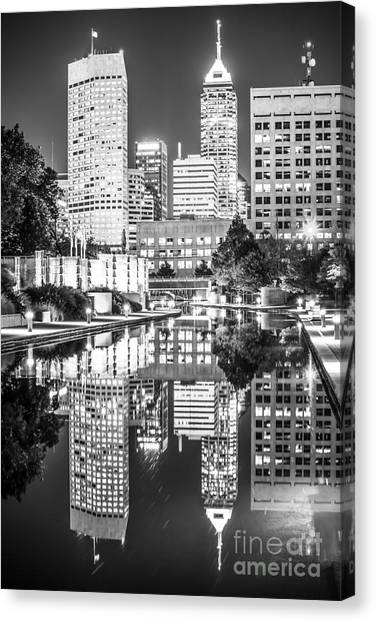 Oversized Canvas Print - Indianapolis Skyline Central Canal Black And White Photo by Paul Velgos